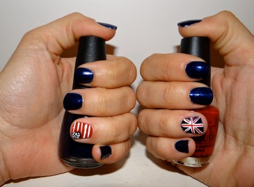 How to make British and USA Flag Nails